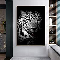 北欧の黒と白のヒョウ柄キャンバス絵画壁画壁アート写真リビングルームアートポスター写真部屋の装飾50x70cmフレームレス