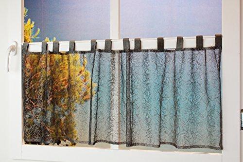 Visillo moderno y encantador de Kamaca, con maravillosos arcos curvados decorativos, mano de obra de alta calidad, poliéster, gris claro, 45 x 150 cm