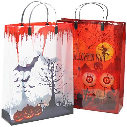 com-four® 2X Sac Halloween - Sac de Collecte Transparent pour Halloween - pour collecter des Bonbons de différents Motifs (2 pièces - Sac de Transport)