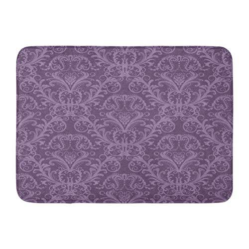 GOSMAO Felpudo de Entrada Alfombra Exterior para Puerta Impermeable Lavable AntideslizanteRosa púrpura Floral Damasco Vintage Elegante Lavanda Lujo 40X60cm