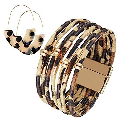 GEEKEN Pulseras de Leopardo Pulsera de Tubo de Leopardo Pulsera de Cuero Multicapa y Pendientes de Leopardo Boho para Mujeres y Chicas de Color Caqui