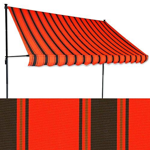 Jawoll Klemm-Markise 2 x 1,2 m orangerot-schwarz (Profilfarbe: Anthrazit) Balkonmarkise Spannmarkise Sonnenschutz Klemmmarkise