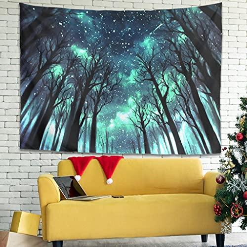 Facbalaign Tapiz de pared con diseño de cielo estrellado y bosque, ligero, para salón, dormitorio, color blanco, 100 x 150 cm