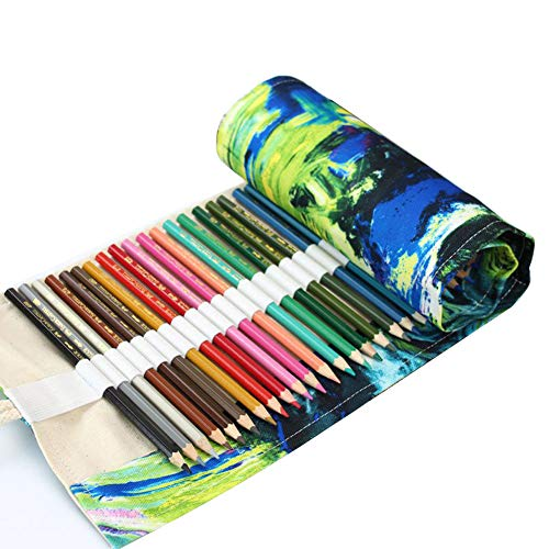 Coideal Colored Pencil Holder Case/ 72 Slots Canvas Wrap Holder Roll Up Pouch Case Bag Set for Kids and Adults, Travel Drawing Coloring Pencil Roll Organizer for Artist (72 Holes, Painting)