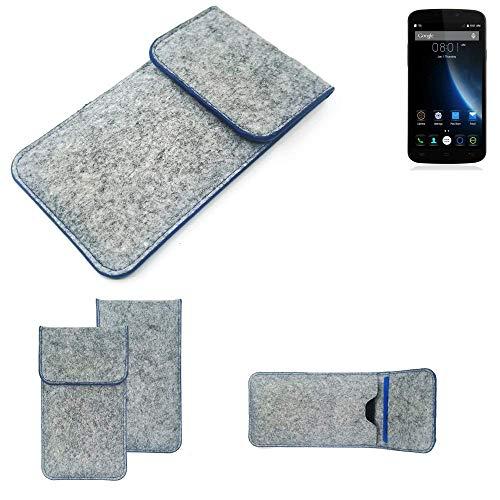 K-S-Trade Handy Schutz Hülle Für Doogee X6S Schutzhülle Handyhülle Filztasche Pouch Tasche Hülle Sleeve Filzhülle Hellgrau, Blauer Rand