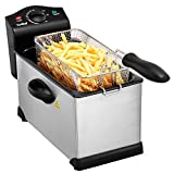 VonShef Deep Fat Fryer, 3 Litre with Adjustable Temperature Control, Observation Window and Removable Basket for Easy Clean – Stainless Steel