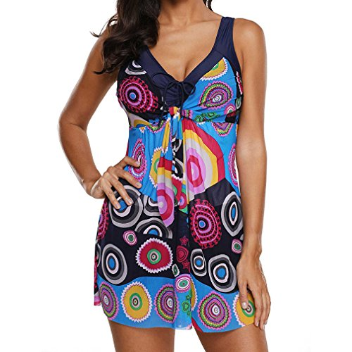 Bañador con Falda Traje de baño de Una Pieza Plus Talla para Mujer Puntos Impresión Traje de Baño Tankini Pantalones + Traje de Baño Negro Azul Púrpura