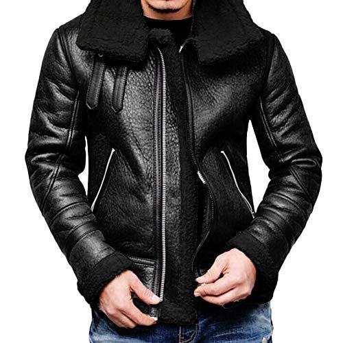 YEBIRAL Herren Lederjacke Winterjacke Dicke Warme Revers Kunstlederjacke Übergangsjacke Kunstleder gefütterter Vintage Jacke