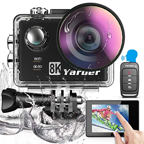 Yarber Action Cam 8K 20MP Digitale Action Kamera mit WiFi Touchscreen EIS 40M, Sports Helm Kameras 8X Zoom Sprachsteuerung Fernbedienung Zubehör Kit Unterwasser Kamera