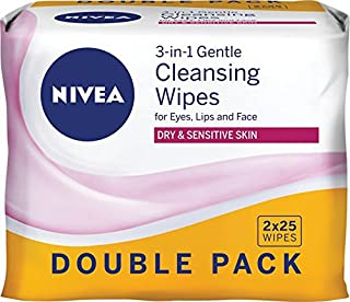 NIVEA Daily Essentials 3 in 1 Gentle Cleansing Wipes for Eyes, Lips & Face. Enriched with Natural Almond Oil for Dry & Sensitive Skin Twin Pack 2 x 25 wipes