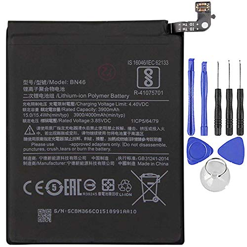 Ellenne Batería compatible con Xiaomi Mi Redmi Note 6 BN46 de alta capacidad 4000 mAh con kit de desmontaje incluido