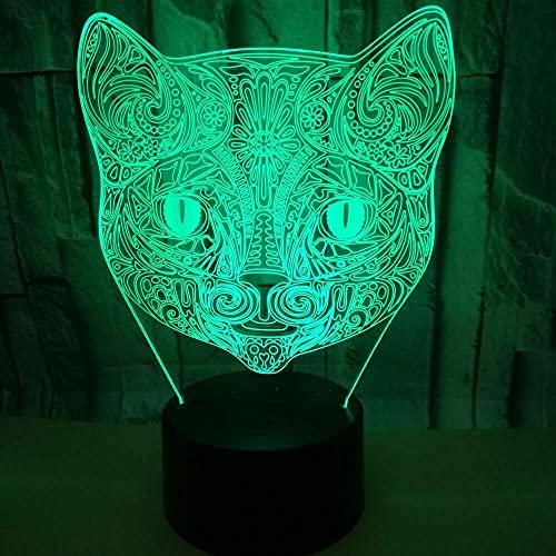 3D Ilusión óptica Lámpara LED gato Luz de noche Deco 7 colores usb Decoracion Dormitorio escritorio mesa para niños adultos del partido cumpleaños Luces nocturnas de mesa