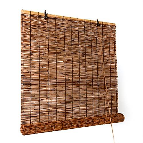 kufu01 Persianas de Caña de Privacidad de Partición,Decoración de Pared Persiana Enrollable de Bambú para Ventana,Cortinas Opacas para Casas de Té,Restaurantes,Pabellones,Toldos (130x350cm/51x138in)