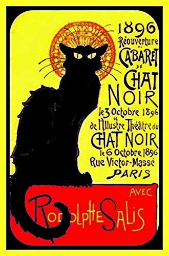 Le Chat Noir 1896 Cabaret Reklame metalen bord bord metalen plaat metalen plaat plaat plaat metalen Tin Sign gewelfd gelakt 20 x 30 cm