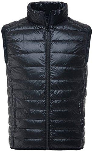 Sawadikaa Homme Ultra Légère Doudoune sans Manche Gilet Veste Manteau Zippée Hiver pour Blouson Noir X-Large