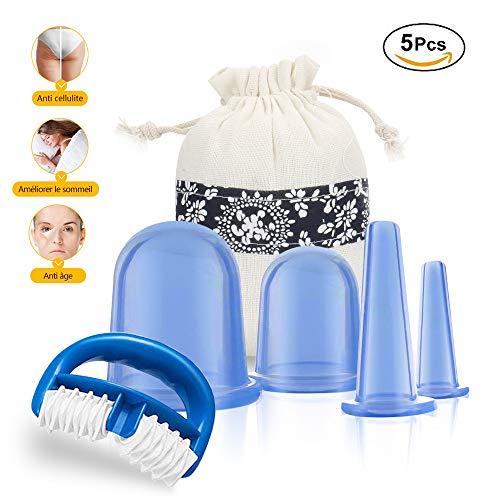 Ventouse Anti-Cellulite, Kuyang 5 PCS Ventouse Cellulite Minceur Roller Minceur Silicone Massage Cups, Anti-âge, Réducteur de Rides, Soulagement de la Douleur, Réduit les Tensions Musculaires