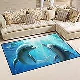 Yochoice Non-Slip Area Rugs Home Decor, Stylish Cute Couple Dolphin Love Blue Ocean Floor Mat Living Room Bedroom Carpets Doormats 60 x 39 inches