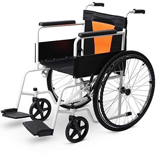 WRJY Rollstuhl Klappbarer Rollstuhl, Rollstuhl zur Verstärkung von Vollstahlrohren, Leichter Rollstuhl aus Aluminiumlegierung, selbstfahrender klappbarer Rollstuhl, geeignet für Be