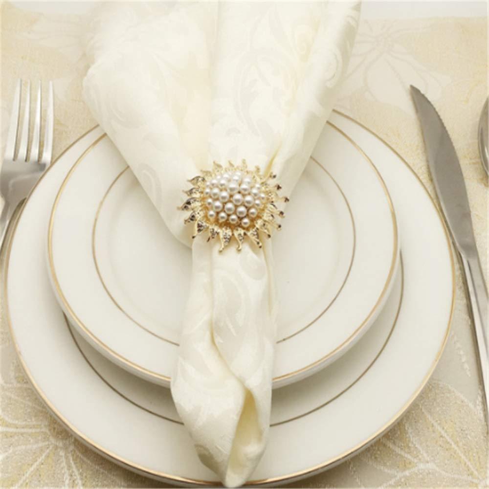 Set de servilleteros Juego de 12 anillos de servilleta de aleación for la configuración de lugar Recepción de la boda Cena Decoración Favor de la fiesta con la flor de perla Cena