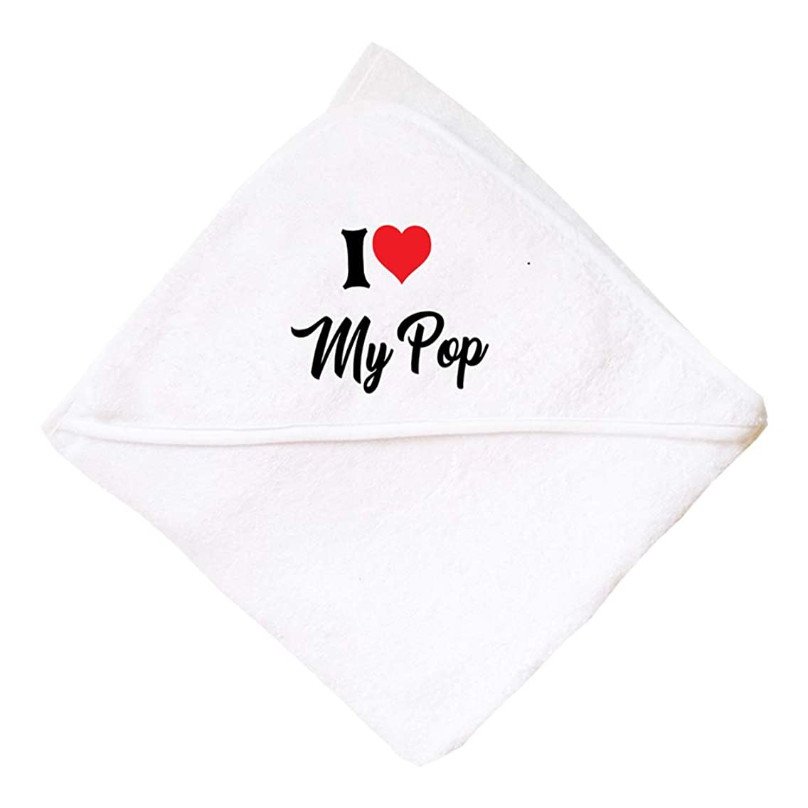 I Love My Pop Boys-Girls Cotton Baby Hooded Towel, One Size