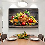 PYROJEWEL Kitchen Wall Art Modern Fruit and Basket Canvas Painting Poster and Prints Cuadros Wall Pictures for Dining Room Decoration 50x70cm Frameless