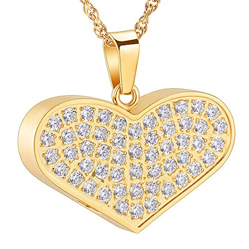 ZZHIYONG Keepsake Cremation Urn Necklace Memorial Ashes Keepsake Memorial Jewelry Urns for Women Luxury Golden Heart Cremation Urn Necklace