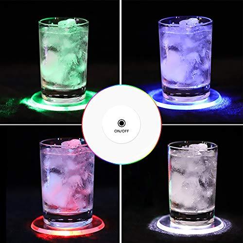 TYXSHIYE 6 Stück Bunt LED Untersetzer für Getränke, Ein/Aus LED Einweg Untersetzer, Wasserdichte Leuchtuntersetzer für Flaschen, Acryl Untersetzer Rund für Partys Hochzeiten Bar Weihnachten