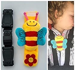 Adjustable to fit most straps. Easy to fit and release, with one clip. Multi-purpose use. The only flexible and adjustable product available. This will grow with your child, simply adjust.