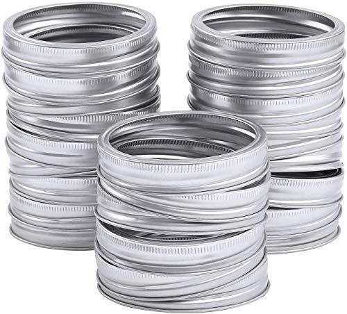 24 anillos de repuesto para tarros de plata resistentes a la corrosión, 70 mm de boca regular Mason tapas de tarro de plata para enlatar, evitar fugas para tarros Mason.