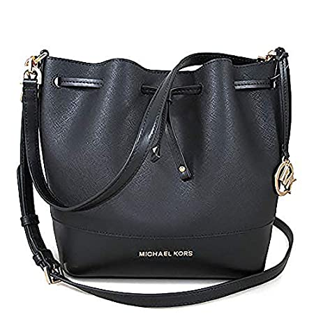 Fashion Shopping Michael Kors Women Trista Medium Bucket Messenger Leather Hand Bag, Black, N/S