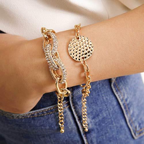 Bohend Moda En capas Diamante de imitación Esposas Oro Circulo Multicapa Cadena de mano Ajustable Metálico Pulsera Joyería para Las mujeres y las niñas