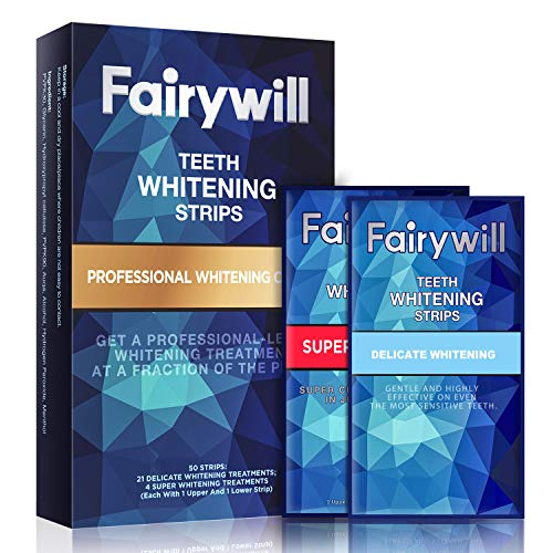 Fairywill Teeth Whitening Strips Pack of 50 Pcs for Sensitive Teeth, Professional Express Whitening Strips Kit Removes all Manner of Stains and Whitens Teeth in only 1 Hour