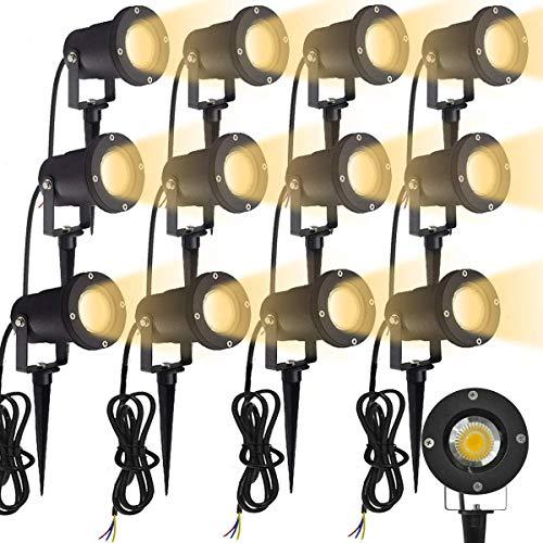 Aufun GU10 Gartenstrahler 3W LED Gartenleuchte mit Erdspieß, Rasen Licht Warmweiß, Wasserdicht IP65 für Außenbereich Garten Teich Landschaft, ohne Schukostecker, 12 Stück