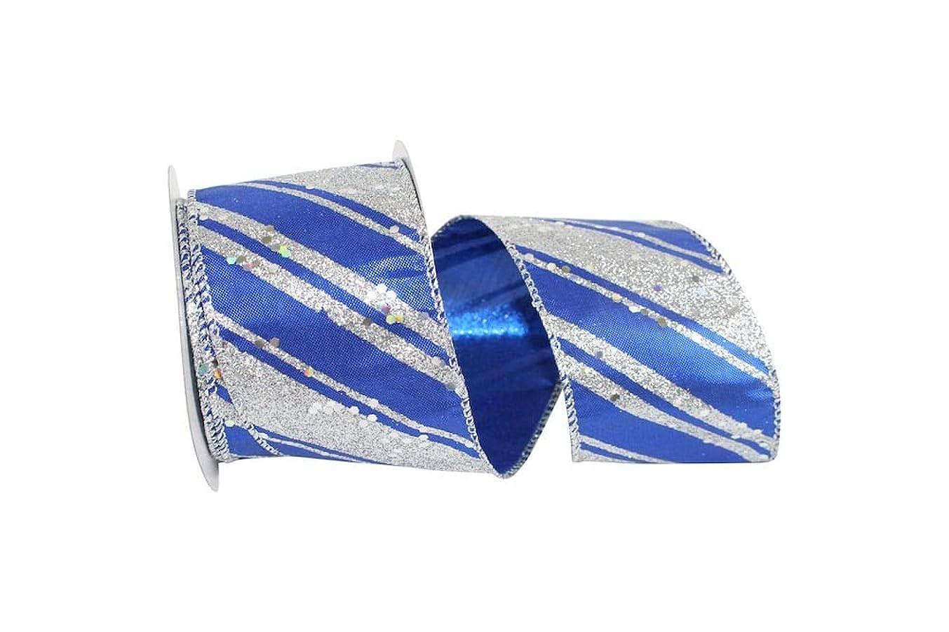 Reliant Ribbon 93190W-989-40F Royal Glitter Stripes Lame Wired Edge Ribbon, 2-1/2 Inch X 10 Yards, Silver