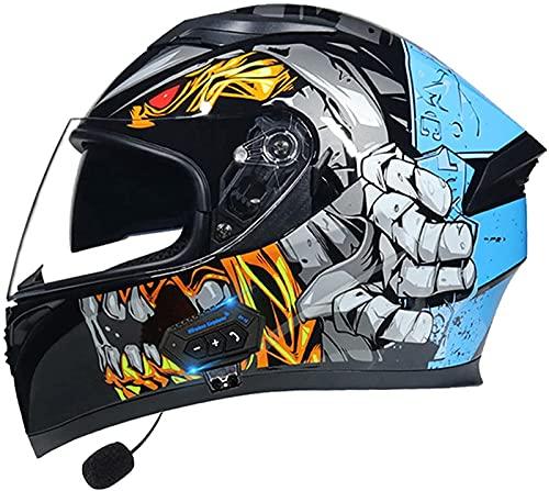 Casco Integral De Motocicleta Con Bluetooth Integrado DOT ECE Aprobado Casco De Motocicleta Casco Integral De Scooter Con Doble Visera Casco Integral De Motocicleta Para Mujeres Y Hombres E,XL