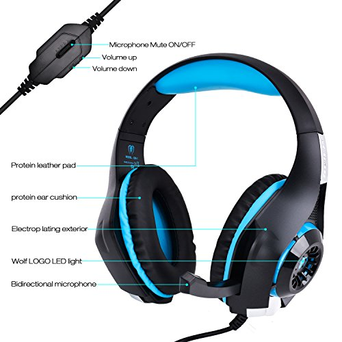 Xbox One Headset PS4 Headset,TUPELO Xbox One Gaming Headset PS4 Headphone Xbox 1 headset PS4 Gaming Headset,3.5mm LED Light Wired Stereo Headphone with Microphone for Xbox one/PS4/PC/Laptop/Iphone 8