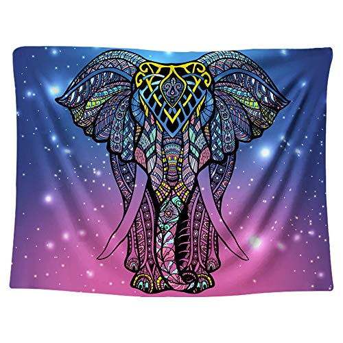 Gloria Nelly Watercolor Elephant Tapestry, Psychedelic Wall Hanging, Hippie Mandala Bohemian Tapestry for Dorm Bedroom Living Room Decor,60' × 80' / 150cm × 200cm