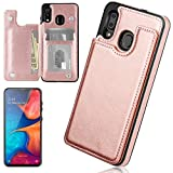 iMangoo Folio Cover for Galaxy A20 Case, Galaxy A30 Wallet Case PU Leather ID Credit Card Slot Cash Pocket Cards Holder Magnetic Closure Protective Flip Cases for Samsung Galaxy A20/ A30 Rose Gold