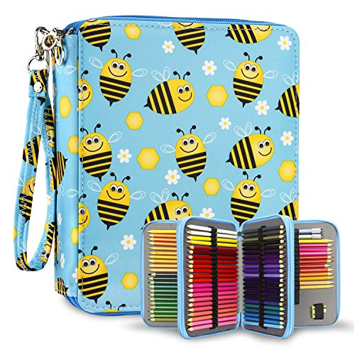 YOUSHARES 120 Slots Colored Pencil Case – Oxford Fabric Pen Case with Compartments Pencil Holder for Watercolor Pencils (Honeybee)