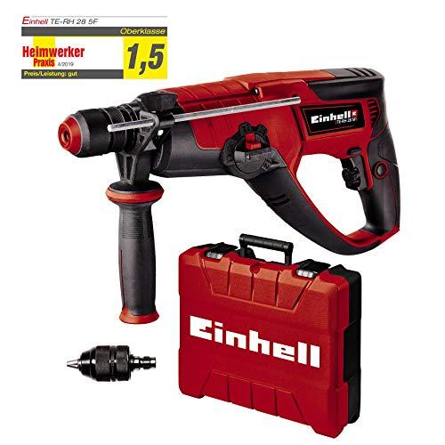 Einhell Bohrhammer TE-RH 28 5F (950W, Schlagzahl 4.500/Min, 3 J Schlagstärke, Dauerlaufarretierung, pneumatisches Schlagwerk, SDS-plus, Drehzahl-Elektronik, Metall-Bohrtiefenanschlag, inkl. E-Box)