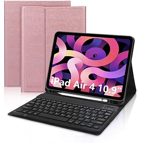 D DINGRICH Funda con teclado para iPad Air 4 generación 10,9, funda con teclado inalámbrico italiano desmontable magnética para iPad Air 2020/Pro 11 2020/2018, oro rosa
