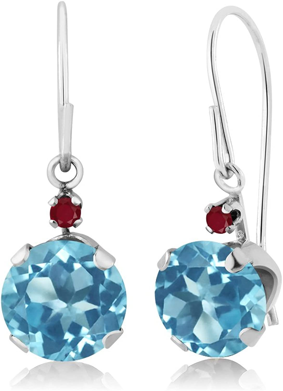 2.04 Ct Round Swiss bluee Topaz Red Ruby 14K White gold Earrings
