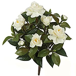 SilksAreForever 15″ UV-Proof Outdoor Artificial Gardenia Flower Bush -White (Pack of 4)