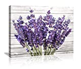 Modern Artwork Purple Lavender Wall Decor Canvas Wall Art Retro Paintings Style Purple Lavender Flowers Picture on White Vintage Wood Background Rural for Living Room Bedroom Bathroom Decoration