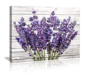 Canvas Prints Rustic Home Decor Canvas Wall Art - Purple Lavender Flowers Wall Decor on Vintage Wood Background Modern Living Room/Bedroom Bathroom Decor Stretched and Ready to Hang Size  20x28inch