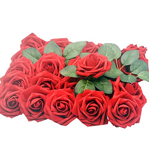 Lmeison Artificial Flower Dark Red Rose, 50pcs Real Looking Fake Roses W/stem with Leaves for DIY Wedding Bouquets Centerpieces Arrangements Party Baby Shower Cake Decor Home Decorations
