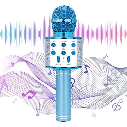 EEM Micrófono inalámbrico Karaok, 4 en 1 máquina portátil de Karaoke con Altavoz portátil Bluetooth, Reproductor KTV doméstico con función de grabación(Blue)