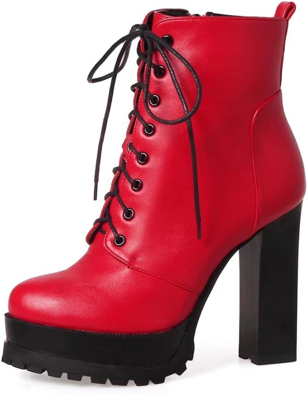 VIMISAOI Women's Platform High Heel Lace Up Zipper Faux Leather Ankle Booties