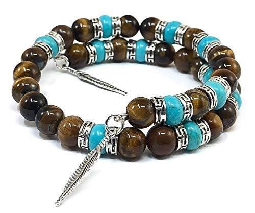 Tiger Eye Turquoise Southwestern Bangle Bracelet for Men & Women