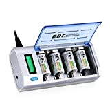 EBL LCD Universal Battery Charger & Discharger with 4 x Ni-MH C Size Rechargable Battery 5000mAh